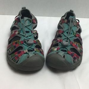 Keen teal/multicolored outdoor sandals. 6